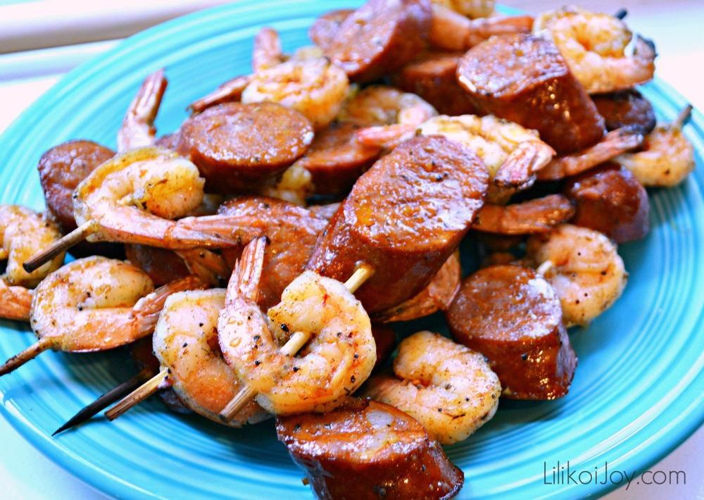 Grilled Island Jerk Shrimp and Sausage Skewers