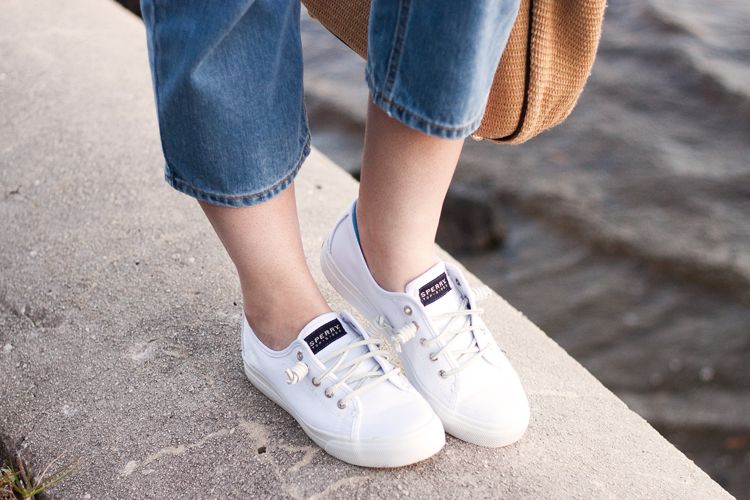 White Leather Sperry Shoes