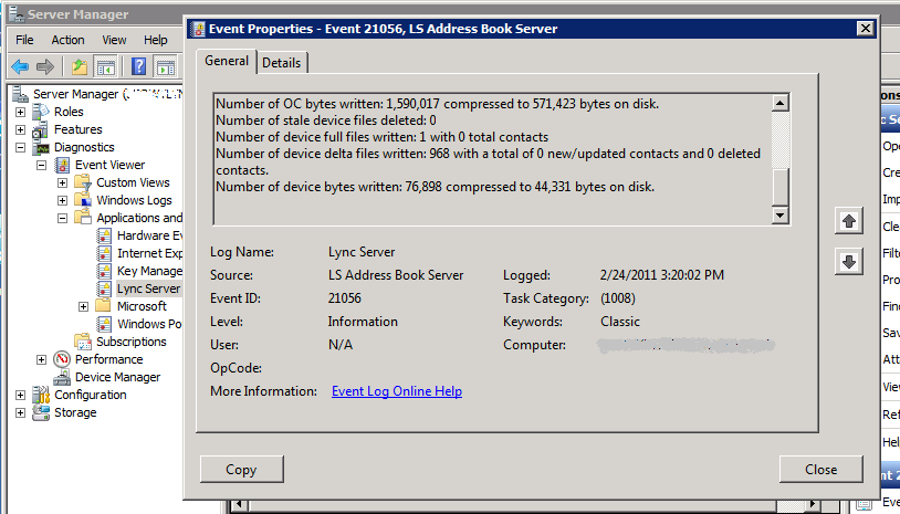 script to force download of the lync 2010 address book the expta