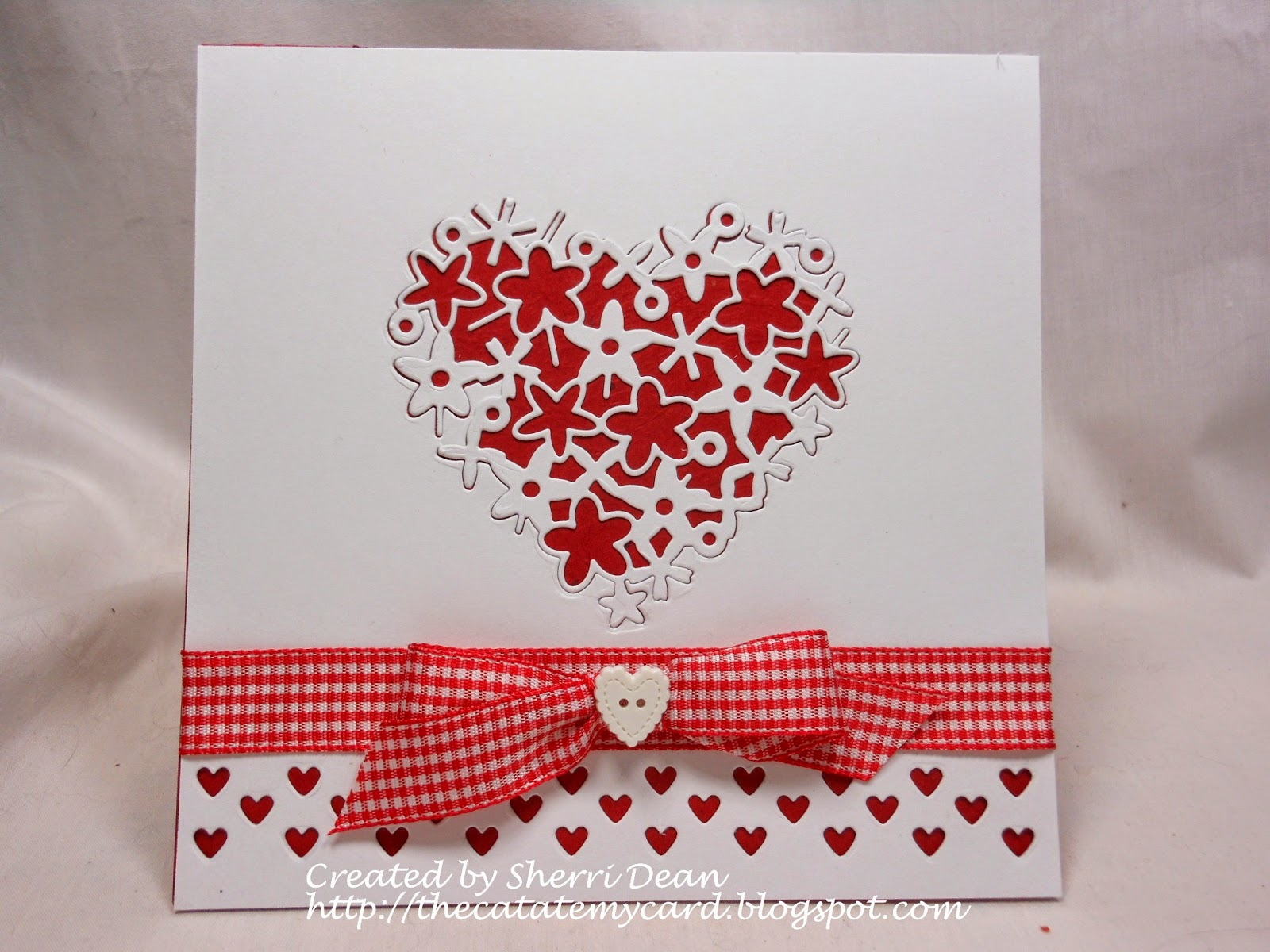 Dies r us hearts hearts more hearts i began by cutting a piece of 5 12 inch cardstock the same size as my card base and laying my mini heart row die along the bottom edge kristyandbryce Choice Image