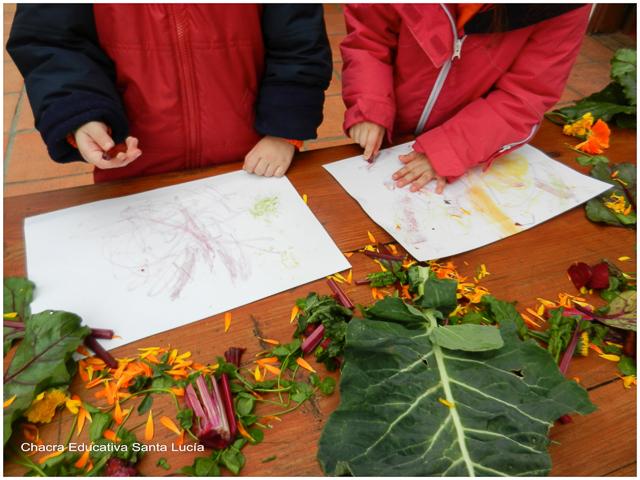 Coloreando con vegetales - Chacra Educativa Santa Lucía