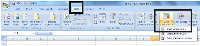 Data Validation pada  Ms Excel