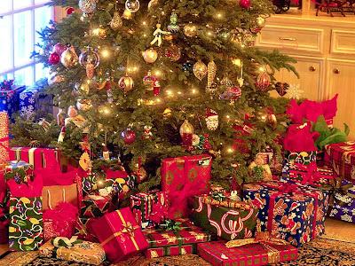 Wallpaper Regalos de navidad con colores rojos