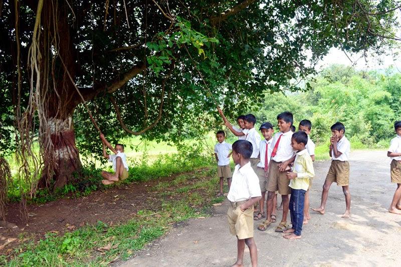 village school children