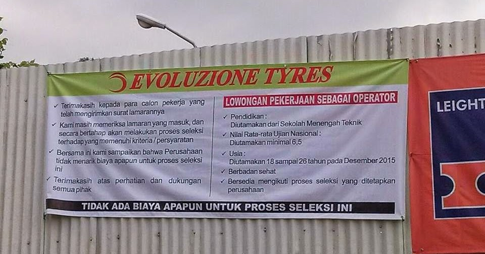 Lowongan Kerja Pt Evoluzione Tyre Subang Info Kerja Pencaker