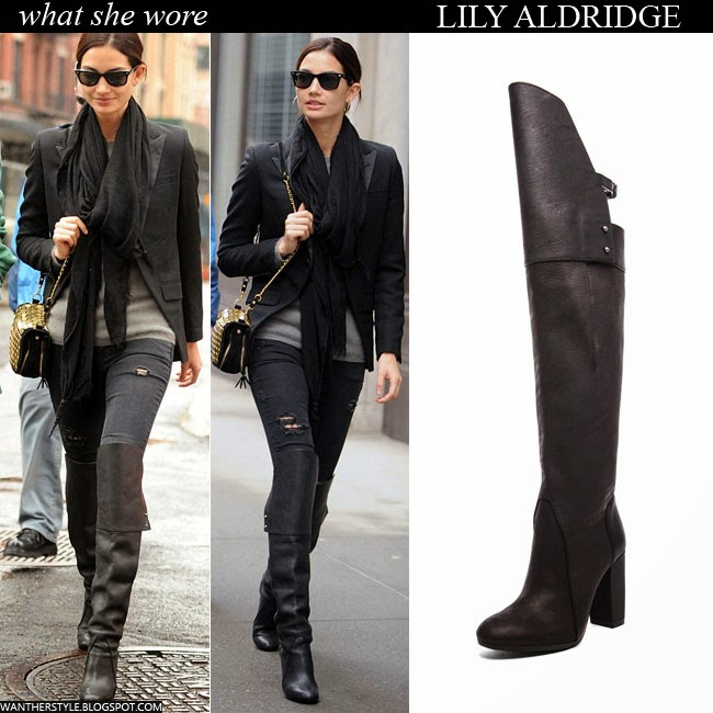 WHAT SHE WORE: Lily Aldridge in black leather over the knee boots