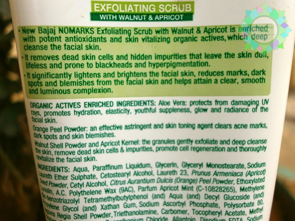 Bajaj Nomarks Exfoliating Scrub with Walnut & Apricot Review, Swatch, MRP, availability, Bajaj No marks, Indian beauty Blogger, Indian makeup blogger, Beauty Blogger, Bajaj Skin care, affordable skin care, scrub for dry skin