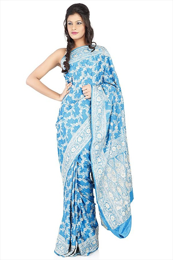 Cyan Blue Satin Banarasi Saree