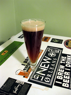 A glass of Cherry Smoked Roggenbier.