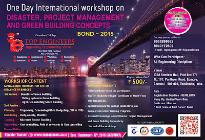 International Workshop on Disaster, Project Management and Green Building Concepts Bond-2015