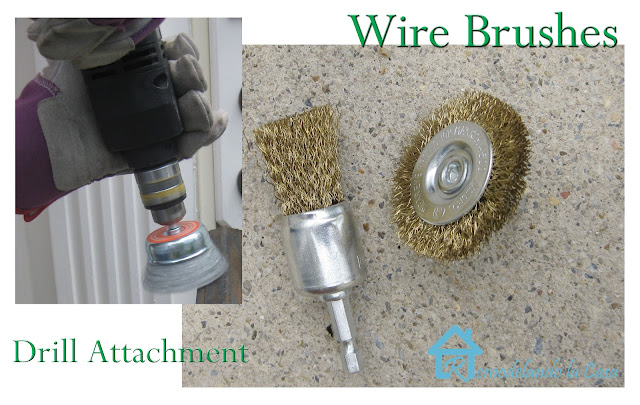 remove rust with wire brushes attached to a drill