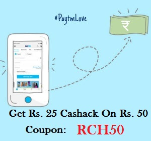 Paytm RCH50 promo code
