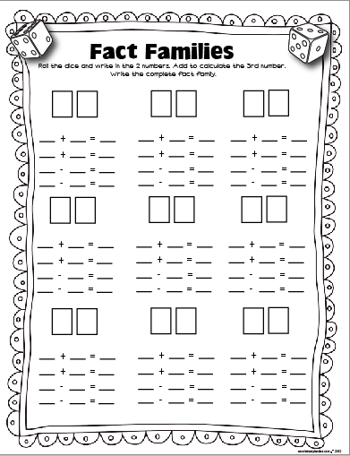 ... Worksheets, Math Lesson Plan, Fact Families Game, Math Dice Activities