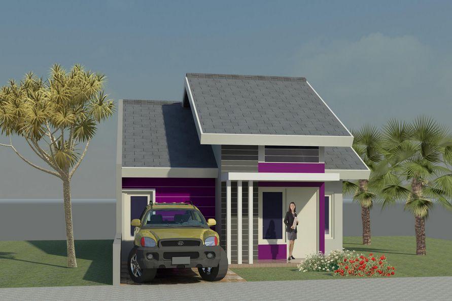 contoh 3d desain rumah type 45 terlihat depan