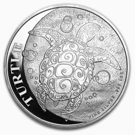 2014 1 oz Silver New Zealand $2 Niue Hawksbill Turtle Coins .999 BU, Lot of 5
