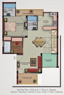 Oxford Square :: Floor Plans,Super Area 154 Sq. Yd. :-Second Floor 1 Bedroom + Study Room + Puja Room + Dining + Kitchen + 2 Toilets + 2 Balconies Super Area: 2122 Sq. Ft. + 178 Sq. Ft. (Terrace)
