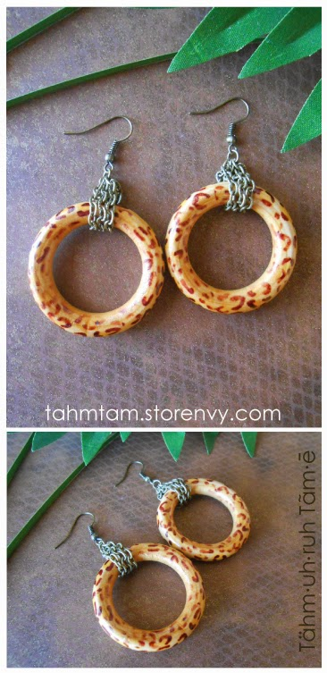 Leopard Print Painteed Wood Hoop Earrings | earrings,wood hoops,leopard print,dope,fly,urban,headwrap,bronze chain,ethnic jewelry,Tähm·uh·ruh Tãm∙ē,Tahm Tam Jewelry Designs