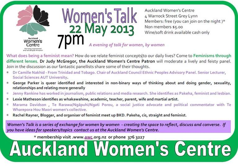 A poster advertising the panel talk. It's at 4 Warnock Street, Grey Lynn, 7pm on 22 May 2013.