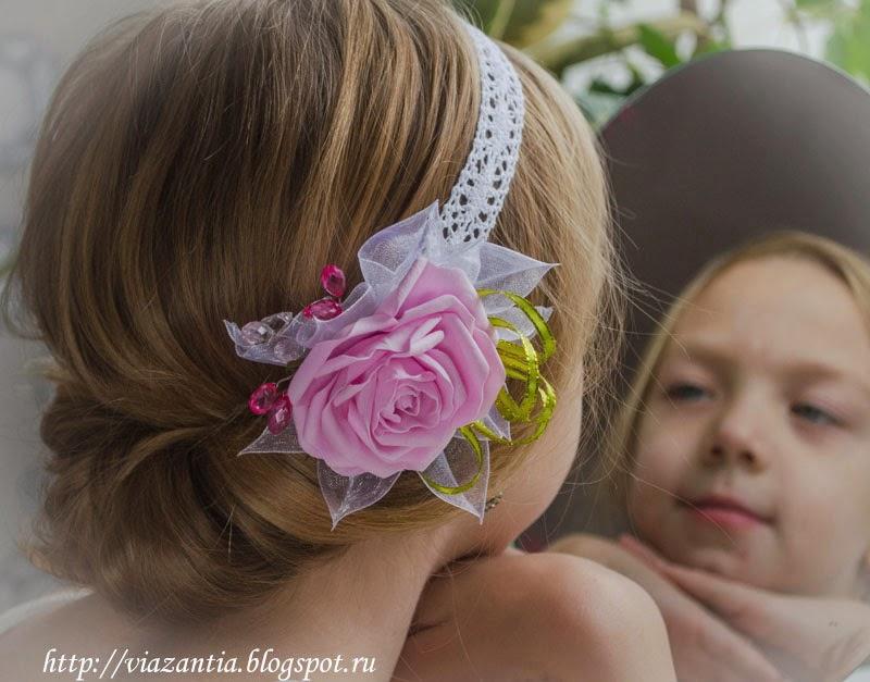 повязка на голову с цветком из фоамирана