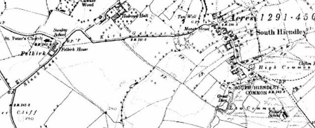 Black and white map snip showing mainly fields, two small settlements Felkirk with a church and a couple of large houses and South Hiendley maybe a mile away with a straggling row of small houses and a large unfenced common area to the south with a school indicated.