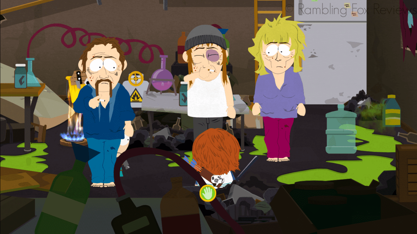 South Park: The Stick of Truth - Game Review druggies in kenny's garage
