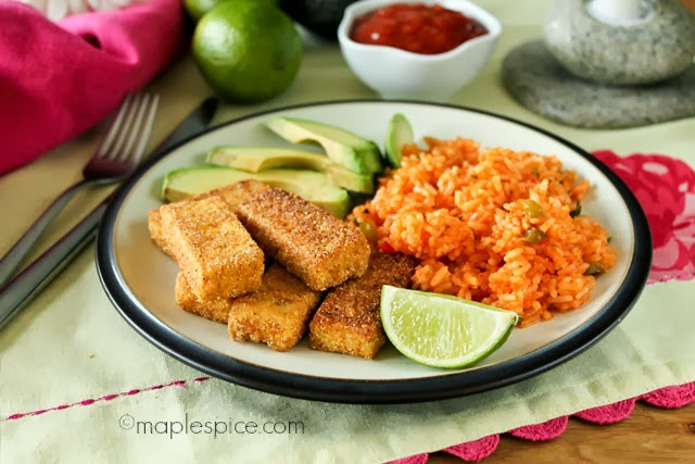 Chili Cornmeal Crusted Tofu with Mexican Rice.