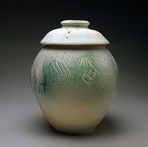 Carved Lidded Pottery Jar by Lori Buff