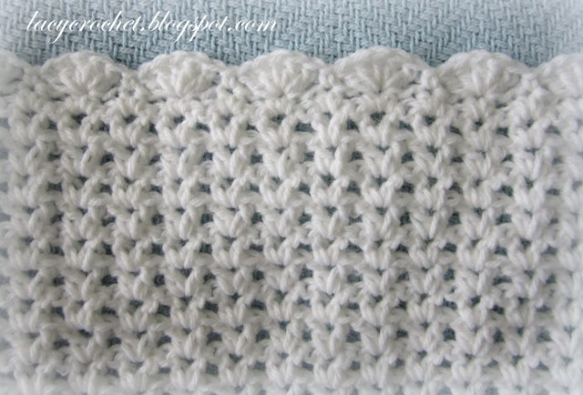 Crochet Stitches V-St : Lacy Crochet: V-Stitch Baby Afghan with Scalloped Trim