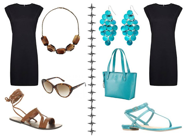 A simple black dress worn with brown accessories, and worn with turquoise/aqua accessories