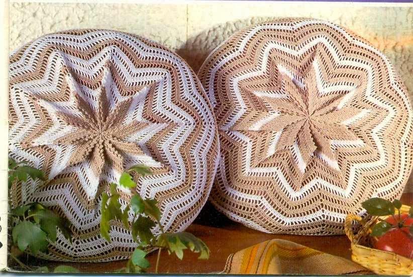 Вязание крючком круглые подушки 12