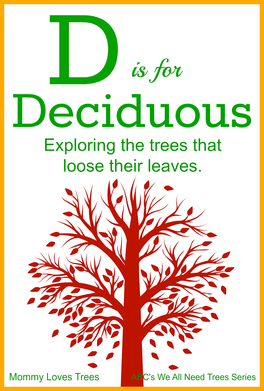 D is for Deciduous - Exploring the trees that loose their leaves!
