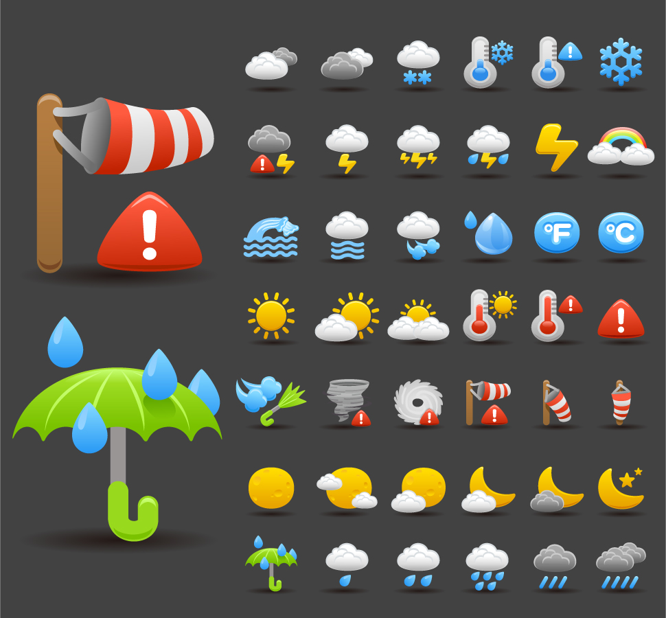 天気アイコン cartoon weather icon イラスト素材