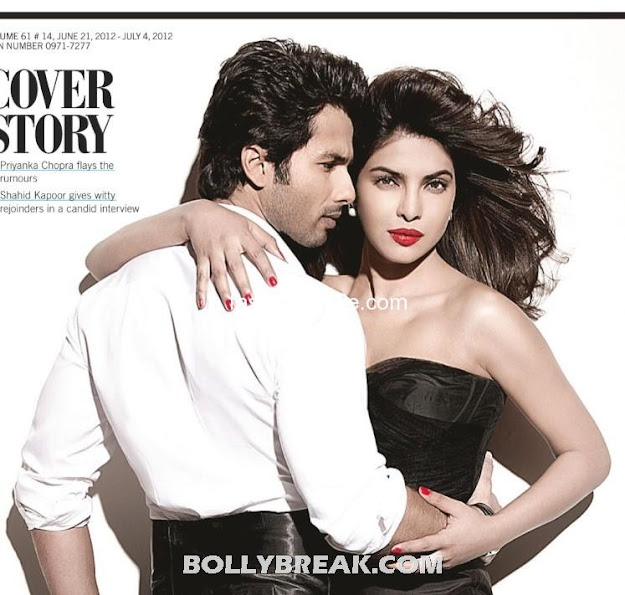 Priyanka is featured in a black off shoulder gown while Shahid sports a tuxedo. - (2) -  Shahid Kapoor & Priyanka Chopra's Filmfare – July 2012