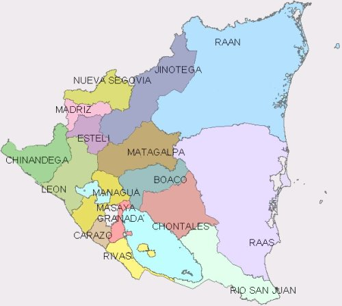 Mapa político de nicaragua