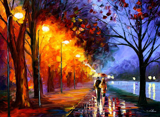 Alley by the Lake by Leonid Afremov, Rainy Day, walking together, Painting