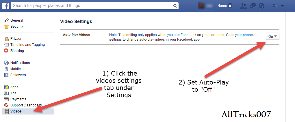 how to stop facebook auto video play