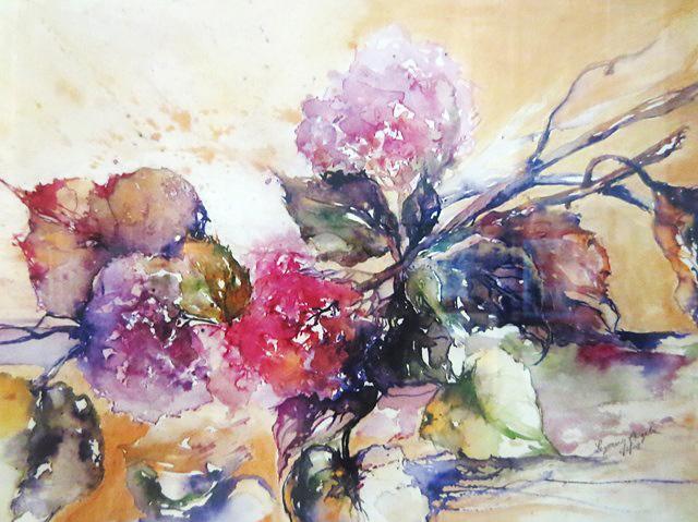 Angela Legrenzi. Acquerelli, pittura ad olio e porcellane. Ospitaletto: Ortensie