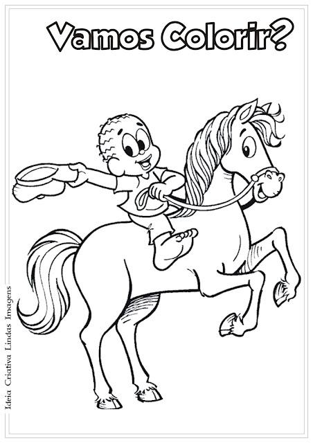 Desenho Negrinho do Pastoreio Folclore para colorir Turma da Mônica