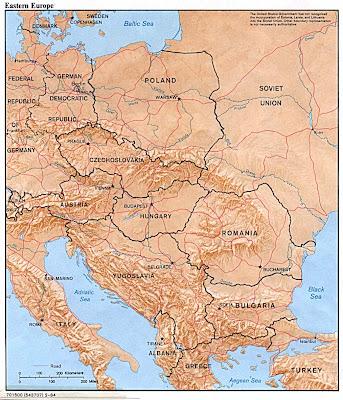 Kaart oost europa met voormalige landen cia 1984
