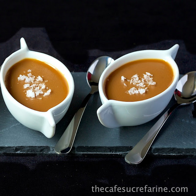 Salted Caramel Pots de Creme - down-home (like a good old fashioned caramel pudding), but sophisticated (it's a French classic) at the same time. This crowd pleaser can be made ahead and makes a gorgeous presentation!