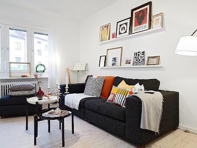 design and decorating black sofa add to the beauty of interior room