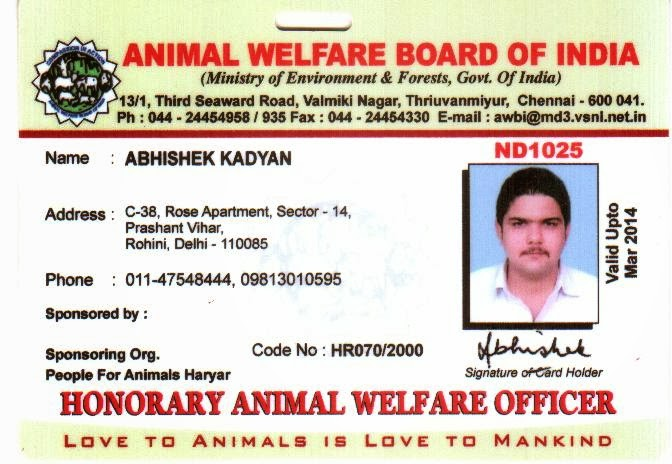 Hon. Animal Welfare Officer, AWBI