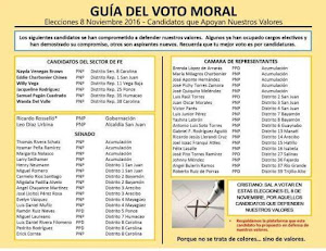 GUIA DE VOTANTES PRO-MORAL PARA LAS ELECCIONES DE PUERTO RICO 2016