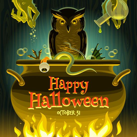 Caldero de brujas de Halloween