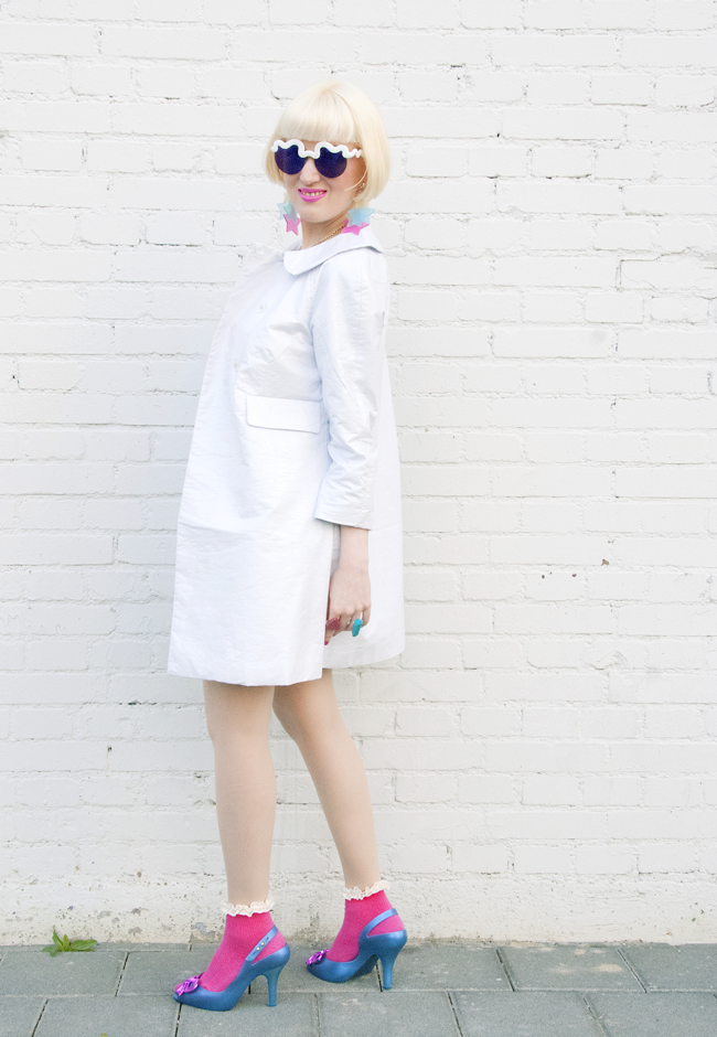 kling plastic coat, white plastic coat, craig & karl for le specs