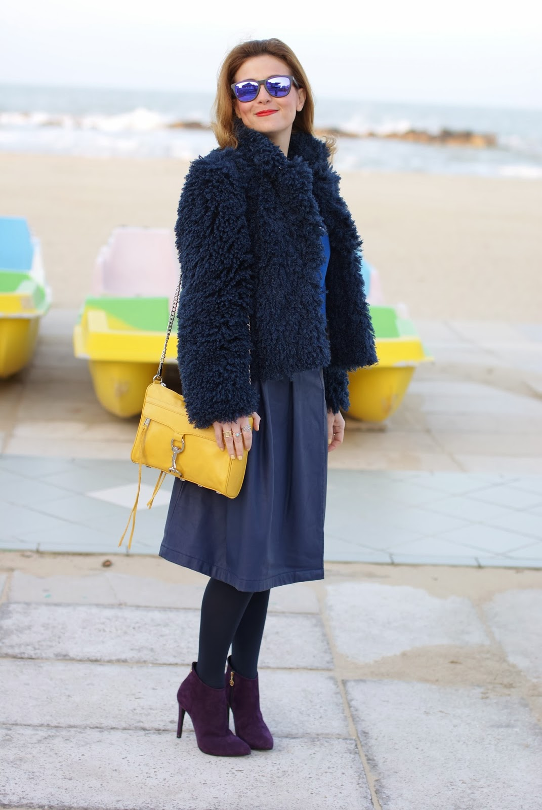 Blue faux fur jacket, yellow Rebecca Minkoff M.A.C. clutch, Fabi ankle boots, Fashion and Cookies, fashion blogger