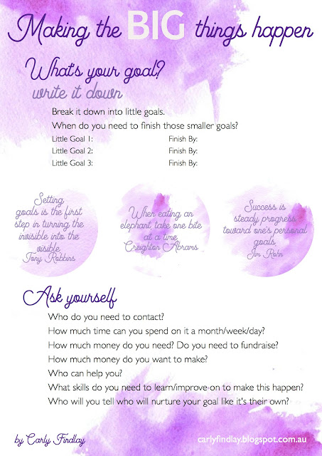 Making the big things happen - goal setting printable.