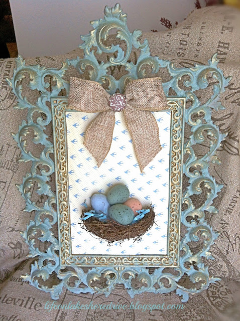 Annie Sloan Chalk Paint Duck Egg Blue, Gold gilding wax, bird's nest, eggs, burlap bow, wall art