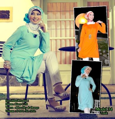 Katalog Busana Muslim Mazaya Blue sky Orange