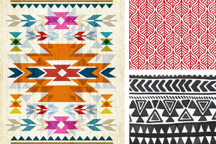 Ethnic bold line drawings, woven tribal rug